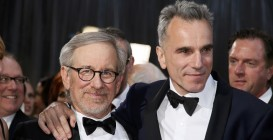 "Spielberg, best director nominee for his film ""Lincoln"" poses with British actor Day-Lewis, best actor nominee for his role in the film at the 85th Academy Awards in Hollywood"